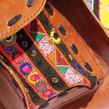 leather duffle bag - leather carry on bag- brown leather carry all banjara bags, genuine leathet bags, gypsy leather bags, bohemian bags