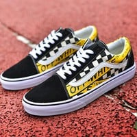 Trendsetter VANS x Off White Slip-On Canvas Old Skool  Flats Shoes Sneakers Sport Shoes