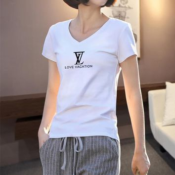 Women Casual Simple Letter Print V-Neck Short Sleeve Bodycon T-shirt Top Tee