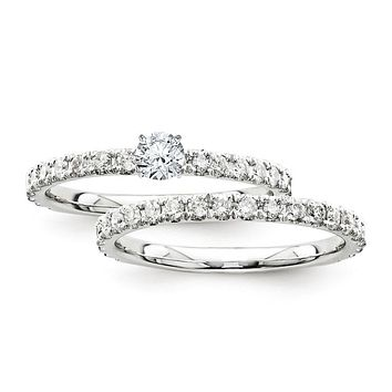 Certified 0.95 Ct. Round Diamond Bridal Engagement Ring Set with Side Stones in 14K White Gold