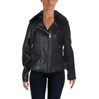 Aqua Womens Faux Leather Asymmetric Motorcycle Jacket