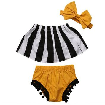 3 pcs!!2017 kids summer baby girls clothes set striped top+tassel shorts+headband striped girl clothing outfit set