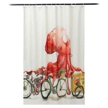 Vintage Octopus Printing Shower Curtain Waterproof Mildewproof Polyester Fabric Bath Curtains Bathroom Product With 12 Hooks Gif