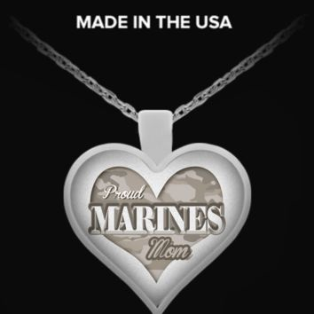 Proud Marine Mom Heart Necklace pmnnecklaceheart