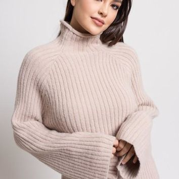 Mock Neck Ribbed Bell Sleeve Sweater