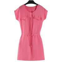 Summer Sexy Sleeveless Linen Slim Thin Female Mini Dress Rose Red Color = 1667549892