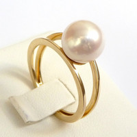 Pearl engagement ring gold pearl ring perfect gift 9mm white round pearl