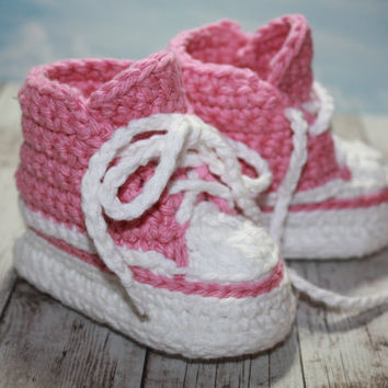 Crocheted Pink and White Baby Sneakers 13 month by 2twistdsisters on Etsy