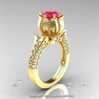 Classic 14K Yellow Gold 1.0 Ct Pink Sapphire Diamond Solitaire Wedding Ring R410-14KYGDPS