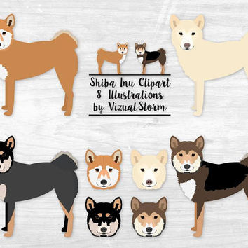 Shiba Inu Dog Clipart Japanese Spitz Dog Breed Illustration Pet Scrapbooking Graphics Shiba Inu Sesame Red Cream Black Tan Dog Face Clipart