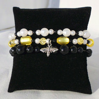 "Triple Beaded Bracelet, Black, White, & Yellow ""Honey"""