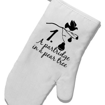 Partridge In A Pear Tree Text White Printed Fabric Oven Mitt