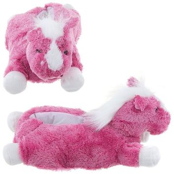 Wishpets Adult M Pink Horse Slippers
