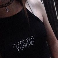 CUTE BUT PSYCHO Aesthetically Embroidered Black High-Neck Ribbed Crop Top