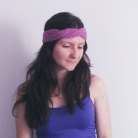 Knitted cotton head warmer in violet