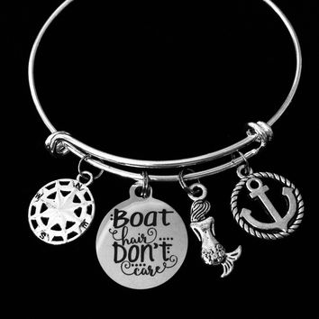 Boat Hair Don't Care Nautical Jewelry Expandable Charm Bracelet