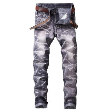 HEFLASHOR Fashion New Trend Skinny Jeans Men Straight Multi Color Printed Mens Casual Denim Jeans Male Stretch Trousers Pants