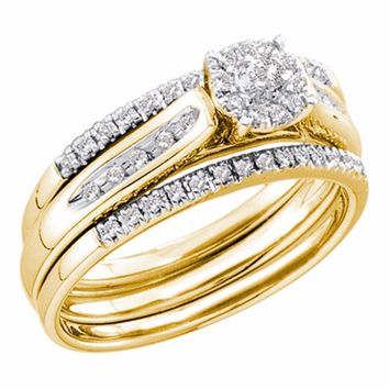 14kt Yellow Gold Womens Round Diamond 3-Piece Bridal Wedding Engagement Ring Band Set 1/4 Cttw