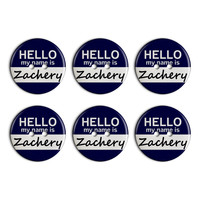 Zachery Hello My Name Is Plastic Resin Button Set of 6