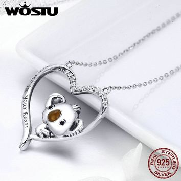 WOSTU High Quality 925 Sterling Silver Cute koala Pendant Necklace For Women Girl Lovely Jewelry Gift For Girlfriend FIN256