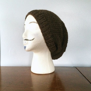 Wool Slouchy Beanie - Mens Slouchy Beanie - Knit Slouch Hat - Wool Winter Hats - Grunge Beanie - Knitted Wool Hat - Knit Men's Beanie