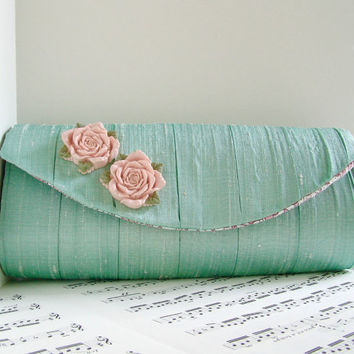 Pleated mint green silk clutch purse with blush pink flowers. Formal clutch bag
