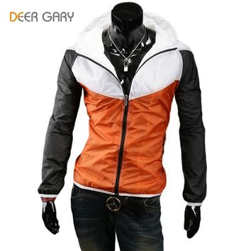 New Arrival Men Zipper Jacket  Stitching design High Quality Hood Jacket Men's Bomber Jackets Blue/Orange