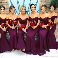 Sexy African Mermaid Burgundy Bridesmaid Dresses Off Shoulder Long Lace Wedding Party Dress Cheap Maid Of Honor Gowns B106