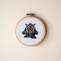 Framed Gundam Wing Cross Stitch | XXXG-01W Wing Gundam Framed Needlepoint | Finished 4x4 Anime Cross Stitch | 4 inch Wooden Embroidery Hoop