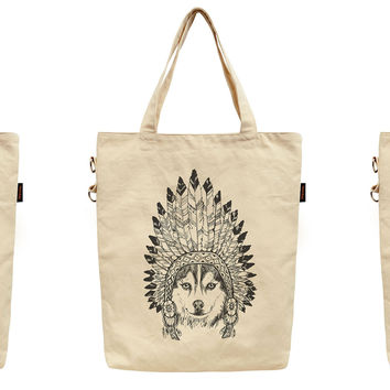 Women Animals Wear Headdress Printed Canvas Tote Shoulder Bag WAS_40