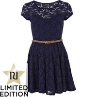 navy lace belted skater dress - skater dresses - dresses - women - River Island