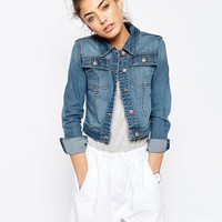 ASOS Denim Shrunken Jacket In Mid Blue Wash