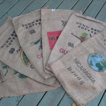 Burlap Coffee Bags Set Of 6 Dunn Brothers Rustic Home/Coffee House Decor DIY Decorating