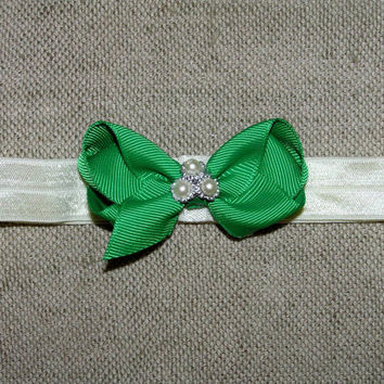 Christmas toddler headband , green and white , Christmas hair bow , elastic headband mini bow , baby headband , baby Christmas , 2.5 inch