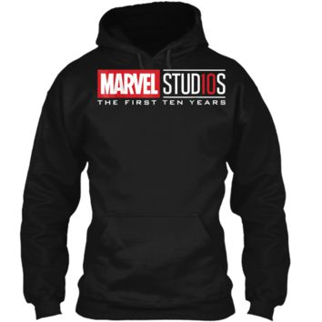 Marvel Studios First Ten Years White Logo Graphic  Pullover Hoodie 8 oz
