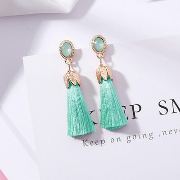 Bohemia Long Tassel Earrings for Women Oval Opal Petals Fringed Earring Fashion Statement Jewelry Female Drop Pendientes Brincos