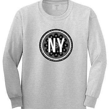 Kings Of NY NY Bandana Pattern Long Sleeve T-Shirt Black Print Gang Dope