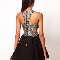 Rare Sequin Chiffon Cut Out Skater Dress at asos.com