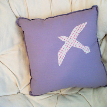 Bird Pillow- Purple- Throw Pillow- Decorative Pillow