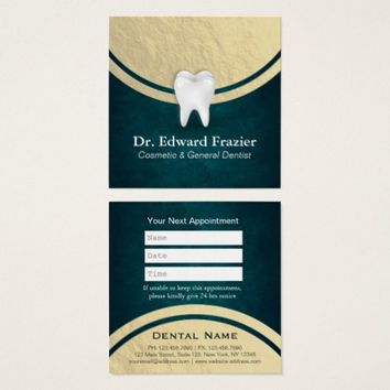 Cosmetic & General Dentist Appointment Black Gold Square Business Card