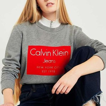 Calvin Klein women Crew Neck Sweatshirt with Flocked