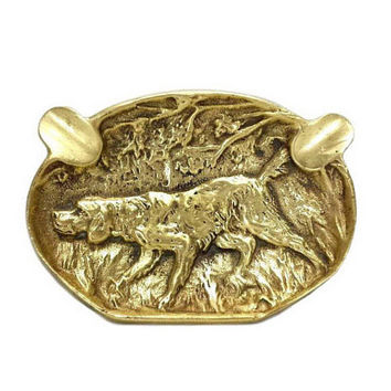Brass Cigar Ashtray Hunting Dog Vintage Man Cave Bar Coin Dish Collectible Animal Tobacciana Cigarette Smoking Accessories Home Office Decor