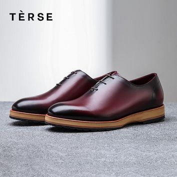 TERSE_100% Handmade Shoes Genuine Leather Men Casual Shoes Luxury Designer cowhide Leather Men`s shoes  1559-1