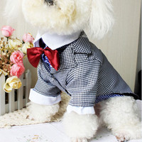 2016 Summer Product For Pet Dog Clothes Vest T Shirt Wedding Dog Suit & Bow Tie Puppy Pet Clothes For Dog Costume Apparel S-XXL