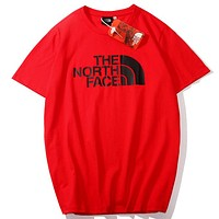 The North Face Tide brand classic print outdoor sports round neck half sleeve T-shirt red