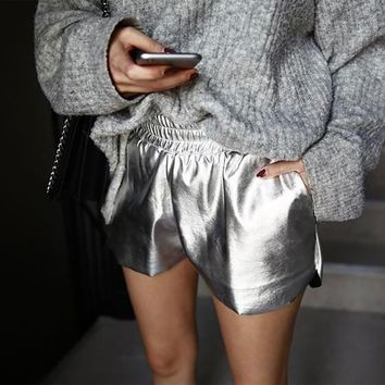 Silver Pockets Sparkly High Waisted Casual Going out Shorts