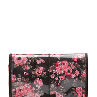 FOREVER 21 Floral Hanging Toiletry Case Black/Pink One