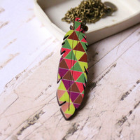 Long Necklace with Geometric Patterns in Brown, Pink, Violet colors with Feather - Woody Collection