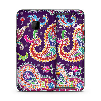 Multicolored Purple Paisley Background Skin for the HTC
