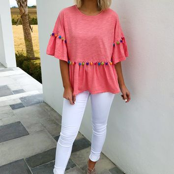 Spring Time Favorite Top: Coral/Multi